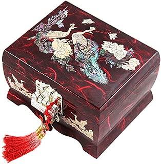 Fun-Store Nacre Inlay Mother of Pearl Music Jewellery Storage Chest Wooden Box Peacock Design Jewelry Mirror Box Keepsake Treasure Gift Box Trinket Case Organizer (Red)