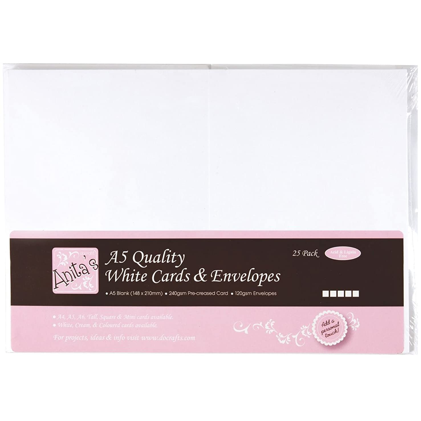 DOCrafts Anita's Cards/Envelopes A5, White, 25-Pack