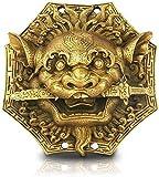 WBDZ Espejo Feng Shui Cobre León Mordedura Símbolo de Riqueza Estatua Bagua Espada Cabeza Hogar Hermoso Espejo de chismes Adornos de Animales Colgante Feng Shui Decoración Estatuilla 1128