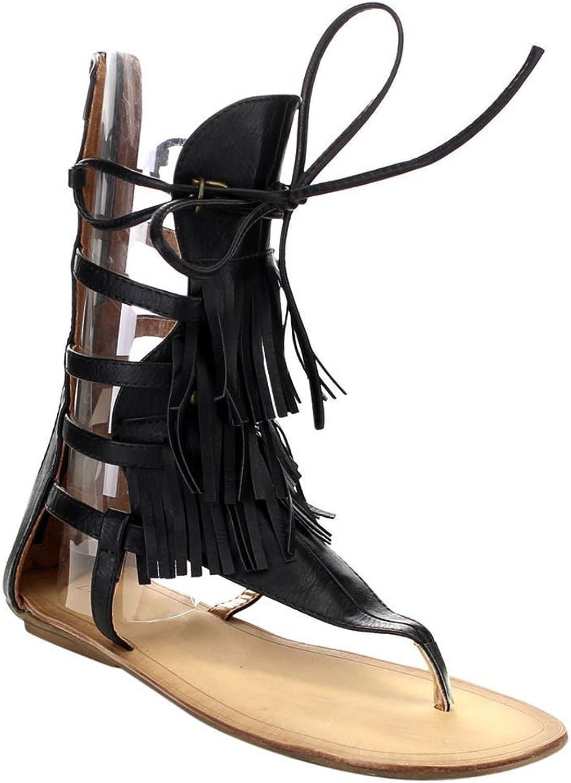 BESTON Liliana Avis-4 Women's Flat Lace Up 3 Layers Fringe Flip Flop Gladiator Sandal