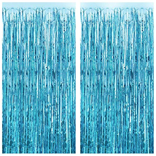 FECEDY 2pcs 3ft x 8.3ft Light Blue Metallic Tinsel Foil Fringe Curtains Photo Booth Props for Birthday Wedding Engagement Bridal Shower Baby Shower Bachelorette Holiday Celebration Party Decorations