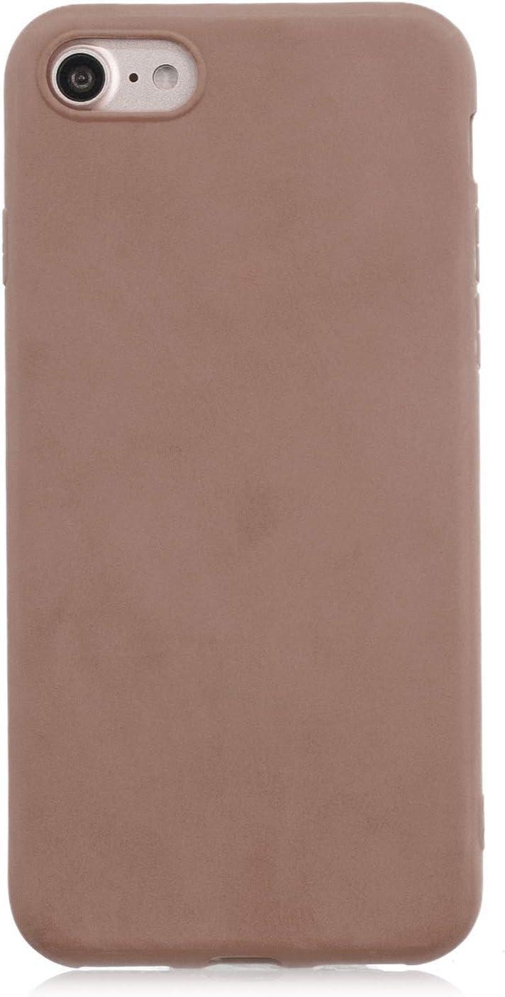 cuzz Funda para iPhone 7/8 Plus+{Protector de Pantalla de Vidrio Templado} Carcasa Silicona Suave Gel Rasguño y Resistente Teléfono Móvil Cover-Marrón