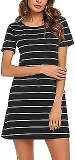 Women's Striped Tunic Dress Casual Criss Cross Short Sleeve T Shirt Dresses with Pockets FBA
