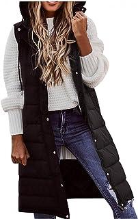 Knee Length Down Vest for Women Warm Fall Winter Gilet Single Breasted Zipper Lightweight Puffer Jackets with Hood
