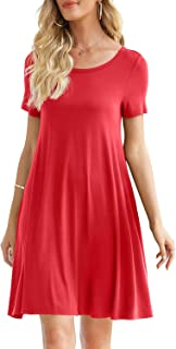 DUSDIMON Women's Summer Casual Dresses Simple Tshirt Dress