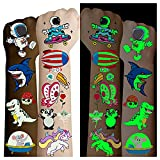 Cerlaza 220 styles Luminous Temporary Tattoos for Kids Gifts, Fake Tattoos Party Favors Supplies for Boys Girls, Unicorn Dinosaurs Pirate Space Mermaid Stickers Makeup for Toddler Tatoo-20 Sheets