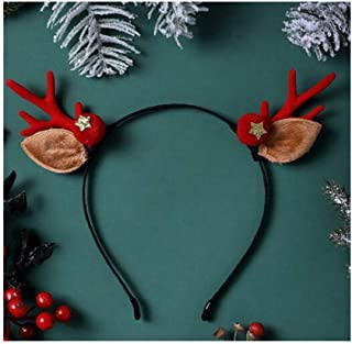 QQRS- Christmas Headband Children's Gift Jewelry Hair Accessories Small Antlers Headwear Decoration Cute Elk Hairpin Plush Headband Brown Antlers Elk Headband (Multiple styles available)