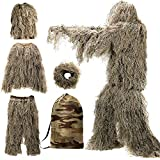 MOPHOTO 5 in 1 Ghillie Suit, 3D Camouflage Hunting Apparel Including Jacket, Pants, Hood, Rifle Wrap, Carry Bag