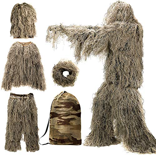 Ghillie Suit, 3D Camouflage Hunting Apparel Including Jacket, Pants, Hood, Carry Bag, Camo Hunting Clothes for Men, Hunters, Military, Sniper Airsoft, Paintball (Ghillie Suit for Kids, Dry Grass)