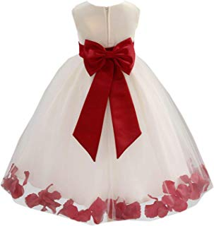 Wedding Pageant Flower Petals Girl Ivory Dress with Bow Tie Sash 302a