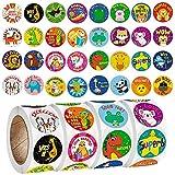 FANDE Etiquetas engomadas de Animales, 2000 Piezas Pegatinas con Rollos de Animales de zoológico Pegatinas autoadhesiva de Forma Animal Adhesivos de Pared para niños, 32 Estilos