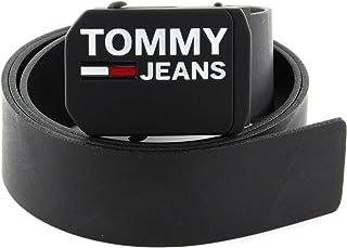 حزام جلدي للرجال تي جيه ام 4.0 من تومي هيلفجر بقطعة لويحية، اسود، 95 سم