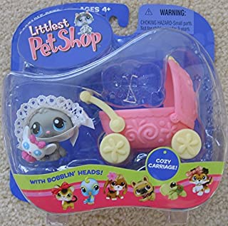 Littlest Pet Shop Baby Kitten with Bonnet and Carriage