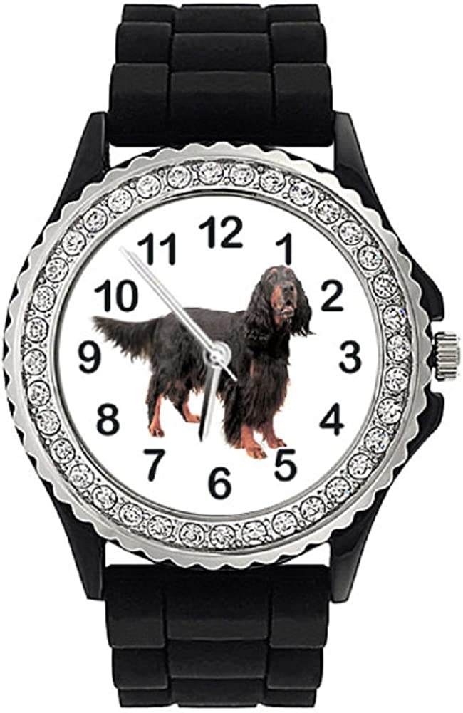 Gordon Setter Dog Crystal Rhinestone Silicone Watch Charlotte Mall Nippon regular agency Wrist Jelly
