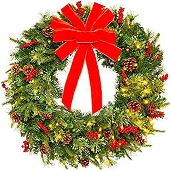 Best Choice Products 24in Pre-Lit Battery Powered Christmas Wreath Artificial Pre-Decorated Holiday Accent w/ 70 Lights 96 PVC Tips Ribbons Pine Cones