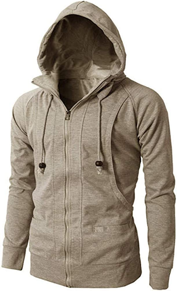 Misaky Hoodies for Men Autumn & Winter Casual Solid Color Zipper Pocket Long Sleeve Pullover Hooded Sweater