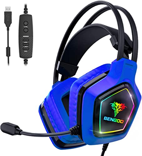 BENGOO USB Pro Gaming Headset for PC, PS4 Console, 7.1 Surround Sound Gaming Headphones with Noise Cancelling Mic, in...