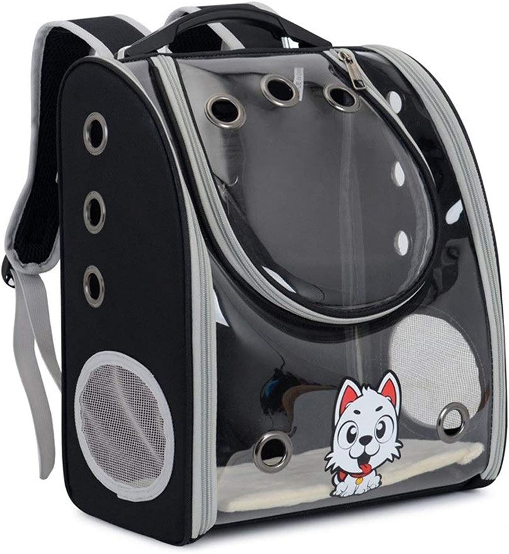 Lstwgc Fashion Full Transparent Pet Cat Dog Backpack Out Portable Breathable Pet Bag (color   Black)