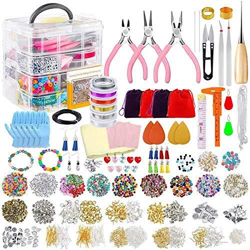 Gesh Kit de fabricación de joyas para pulsera completo, herramienta de suministros con estuche resistente para pulseras, pendientes, gran regalo