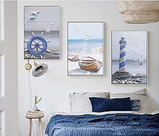jjshily Faro del Mar Paisaje Decoración De La Imagen Pintura En Lienzo Lámina Impresión En Lienzo Posters Cuadro De Pared para Decoración del Hogar Sin Marco, 30X40