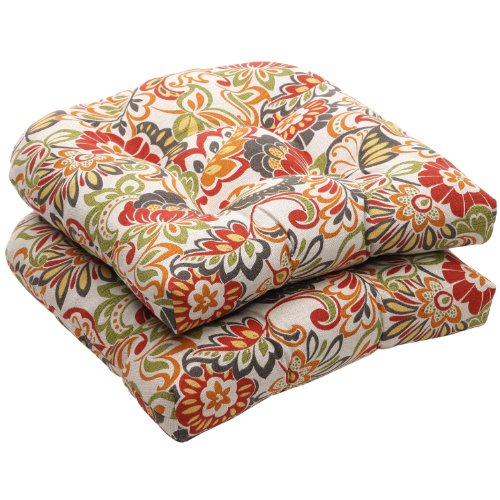 Pillow Perfect Indoor/Outdoor Multicolored Modern Floral Wicker Seat Cushions, 2-Pack