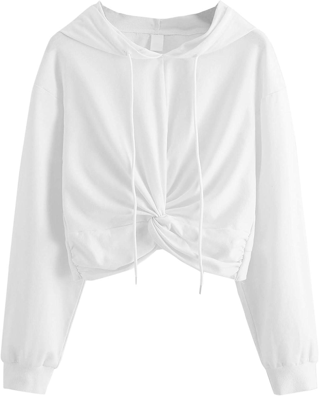 MAKEMECHIC Women Solid Twist Front Long Sleeve Drawstring Crop Top Sweatshirts Hoodies