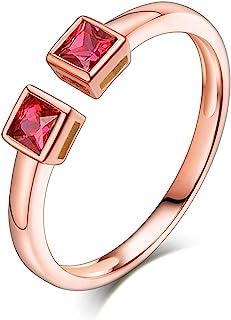 ButiRest - Anello in oro rosa 18 carati 750 con taglio a asco, 0,32 ct, rosso rubino VS