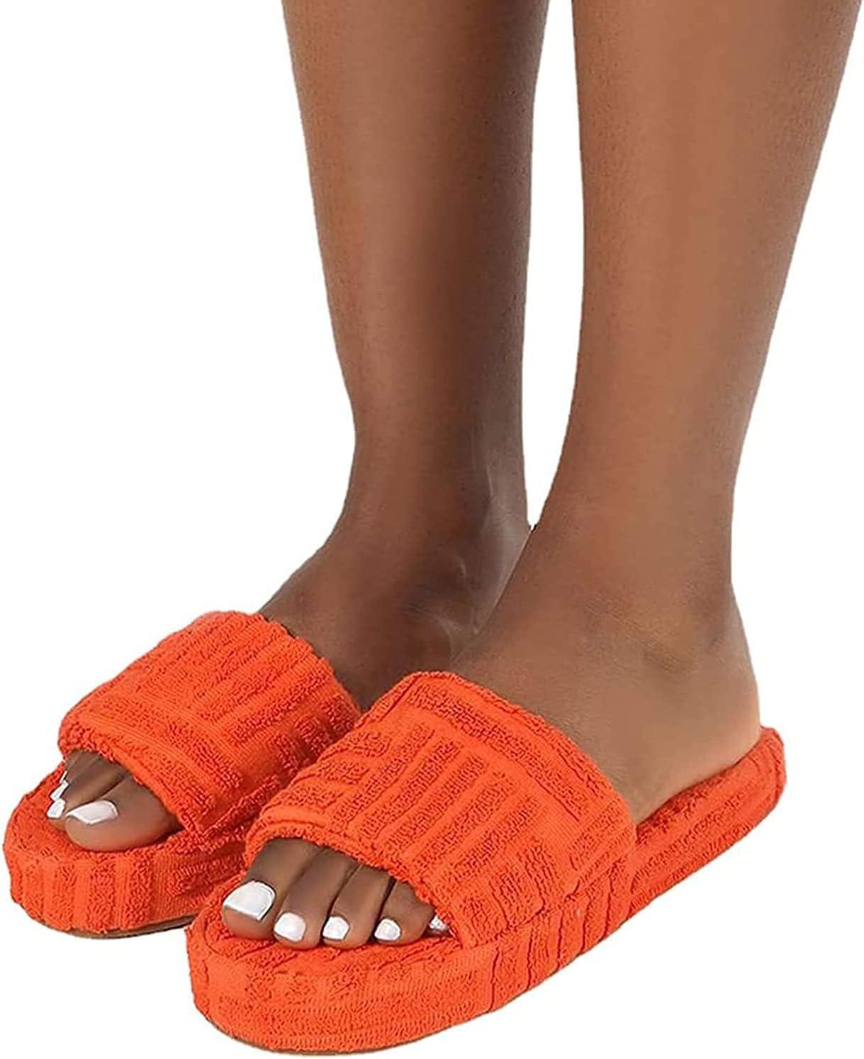 Pantuflas deslizantes de toalla de felpa, pantuflas con punta abierta de tela de felpa, sandalias planas suaves y cómodas con soporte de arco, pantuflas antideslizantes para la casa (naranja,36)
