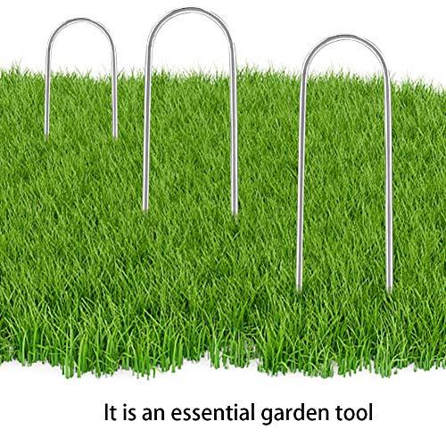 Alfileres de suelo de 15 x 3,5 cm para jardín multifuncionales de acero inoxidable en forma de U para asegurar malas hierbas, tela paisajística, láminas de forro polar