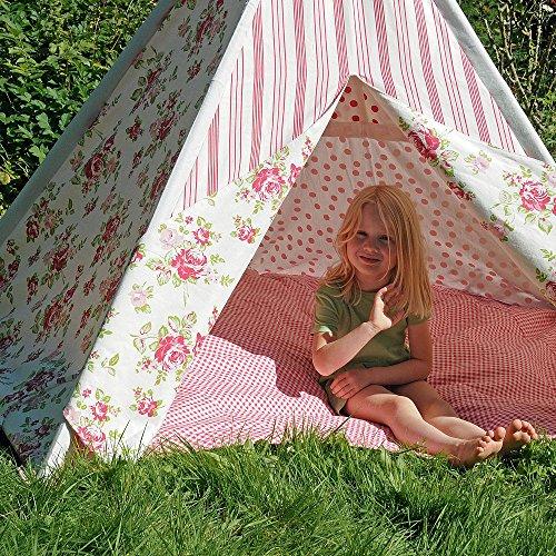 HAB & GUT - ZK001 - Tente de Jeu Roses en Cotton, tipi, Couleur : Rose/Rouge/Blanc, Hauteur 135cm Ø 180 cm -Variable-, pour l'intérieur
