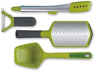 Joseph Joseph 98194 The Foodie Kitchen Gadget Gift Set Peeler Scoop Colander Elevate Steel Tongs Twist Grater Starter Cooking Tools, 4-piece