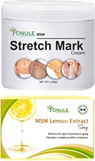 Ionule MSM Stretch Mark Cream with Lemon Extract Soap for Men and Women Combo Pack of 2 - (2 X 90 gm)