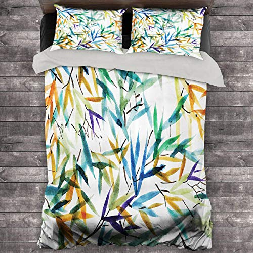 Miles Ralph Traditional House Decor Duvet Cover Decorative Colorful Bamboo Leaves Hand Drawn Spiritual Plants Picture Bedding Duvet Cover 68'x86' inch Multi