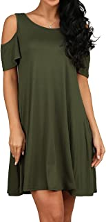Women's Summer Cold Shoulder Tunic Top Swing Loose Dress with Pockets Casual Swing T-Shirt Dresses