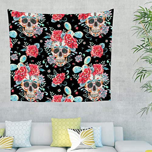 Wingard Leviosar Tapestry Flower Retro Style Wall Tapestries - Picnic Blankets for Bedroom Dorm Decor white 40x59inch