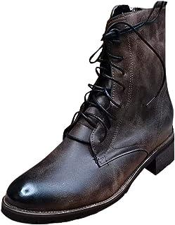 Bottes Moto Homme en Cuir Mode Pas Cher Grand Taille Boots à Talon Plates Cavaliere A Lacets Automne Hiver Vintage Hautes ...