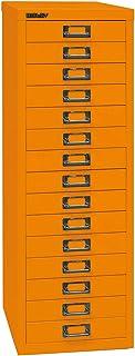 Bisley MultiDrawer 39 Series DIN A4, 15 tiroirs, métal, 603 Orange, 38 x 27,9 x 86 cm