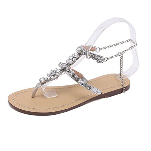 28e437cfa Stupmary Women Flat Sandals Crystal Summer Gladiator Sandals Flip Flops  Beach Party Shoes Chains Floral Gold