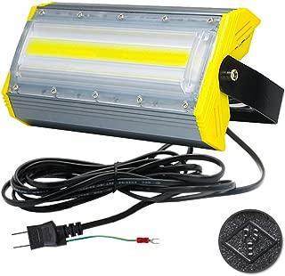 LED投光器,LED作業灯,50W 850W相当 COBチップ 8000LM 3Mコード アース付きプラグ PSE適合 看板灯 街路灯 駐車場灯 昼光色 防水 1年保証