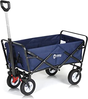 Sekey Folding Wagon Cart Collapsible Outdoor Utility Wagon Garden Shopping Cart Beach Wagon with All-Terrain Wheels and Brake System, 176 Pound Capacity, Blue