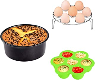 3pcs Accessories Set Kit Compatible with Instant Pot 5 6 8 Quart Pressure Cooker Accessory Silicone Egg Bites Mold+Egg Steamer Rack+7inch Cake Pan Mold Insert Pans