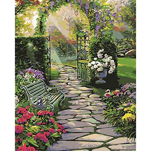 Pintura por números Banco de jardín 16 * 20 pulgadas Lienzo de lino Pintura digital por kits de números sobre lienzo