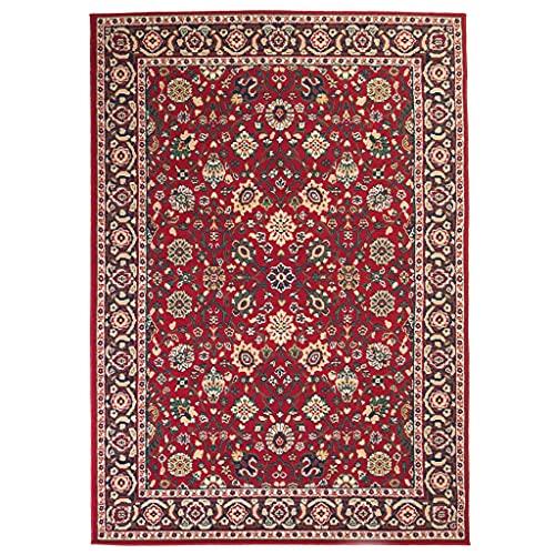 vidaXL Orientteppich Klassisch Design Teppich Orientalisch Kurzflor Orient Wohnzimmerteppich 1350 g/m² Florhöhe 7mm Pflegeleicht 160x230 cm Rot Beige
