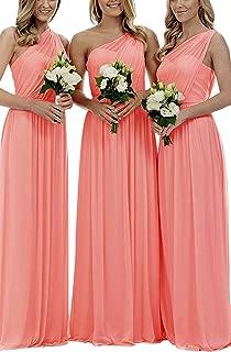 Best long coral chiffon bridesmaid dresses Reviews