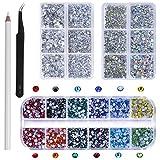 6480 Pezzi Strass Cristallo per Unghie Nail Art Strass, 6 Taglie Cristalli AB Strass Decorazione per Manicure Artigianale, Con Penna Trapano Pinzette
