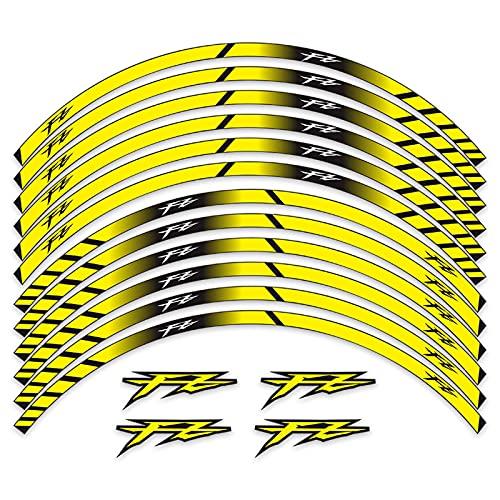 Adecuado para Yamaha FZ 1 FZ-6 FZ 07 09 17 Pulgadas Motocicleta Revisión de Motocicleta Impermeable Rueda Reflectante Hub Pegatina Pegatina Calcomanía de Personalidad (Color : 8)