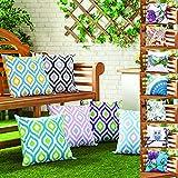 Gefülltes Kissen Blau Grau Geometrisches Design Wasserdicht Für Draußen Gartenmöbel - 7
