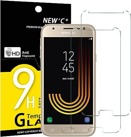NEW'C Verre Trempé pour Samsung Galaxy J3 2017,[Pack de 2] Film Protection écran - Anti Rayures - sans Bulles d'air -Ultra Résistant (0,33mm HD Ultra Transparent) Dureté 9H Glass