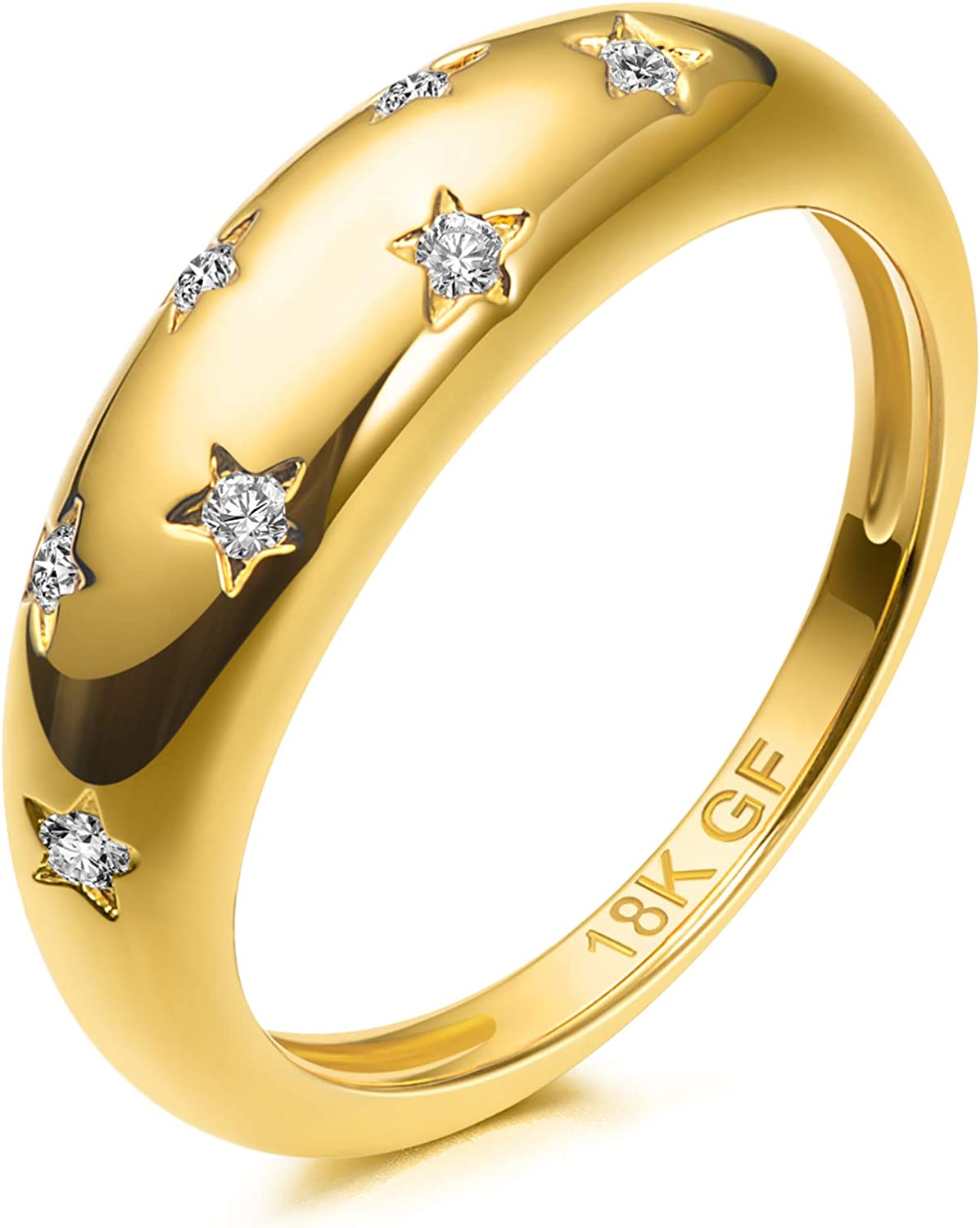 18K Gold Plated 7 Cubic Zirconia Inlayed Star Shiny Dome Ring Statement Ring
