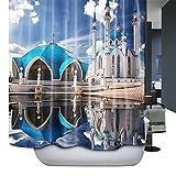 HarsonundJane Anti-Schimmel Polyester Duschvorhang 180×180 cm /72 ×72inch /180×200 cm /72×78inch Inklusive 12 weißen Duschvorhanghaken (180*180, 8)